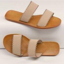 Sandalias planas con doble banda borde en abanico