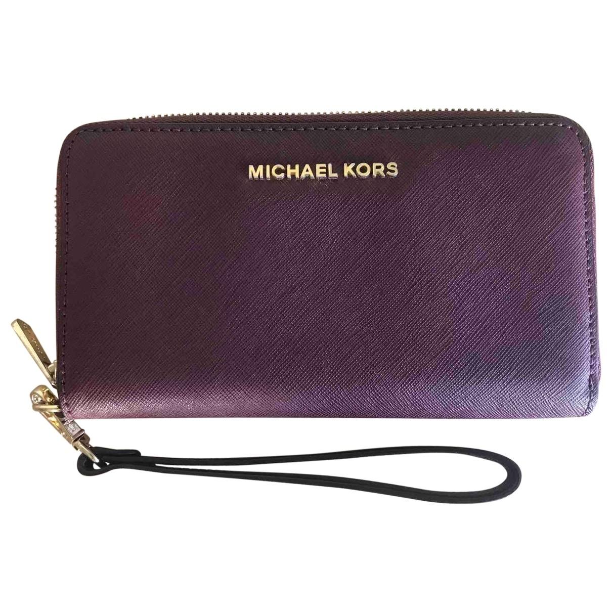 Michael Kors - Portefeuille   pour femme en cuir - bordeaux