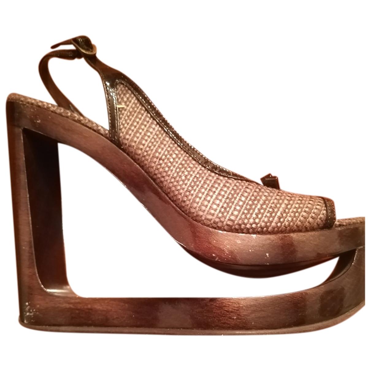 Le Silla - Escarpins   pour femme en toile - marron