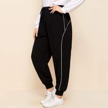 Plus Knot Waist Contrast Piping Joggers