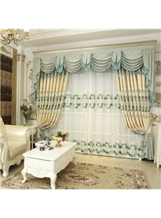 Fresh Style White Voile Light Green Floral Decorative Custom Sheer Curtains