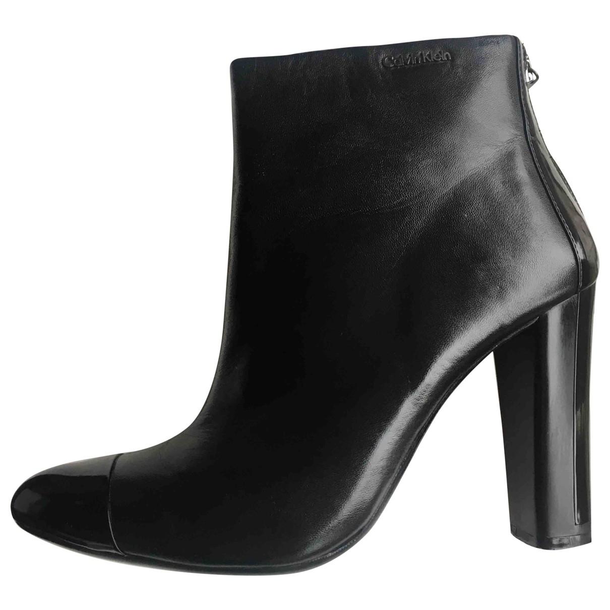 Calvin Klein - Boots   pour femme en cuir - noir