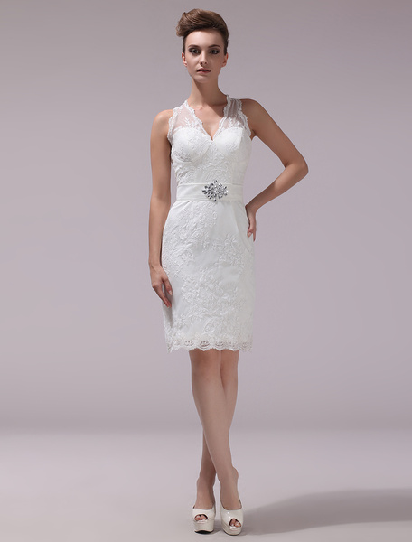 Milanoo White Sheath Rhinestone Knee-Length Lace Wedding Reception Dress with V-Neck