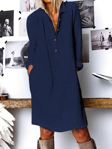 Milanoo Women\'s Shift Dresses Navy Blue Turndown Collar Cotton Fantastic Tube Dress