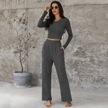 Solid Crop Tee And Wide Leg Pants Set