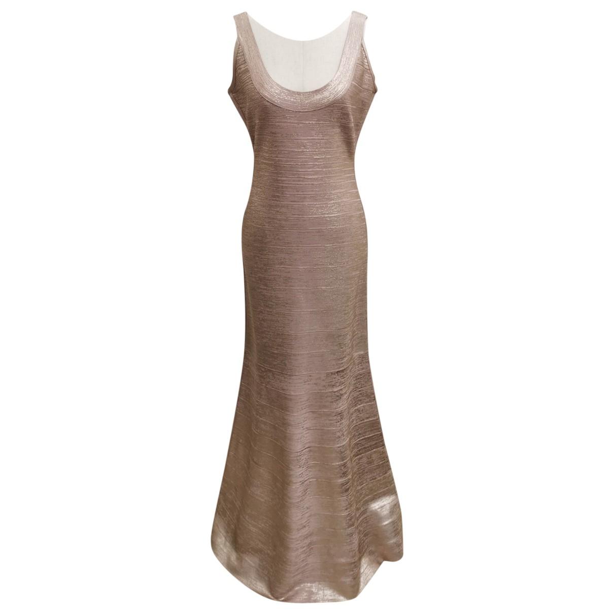Herve Leger \N Kleid in  Gold Viskose