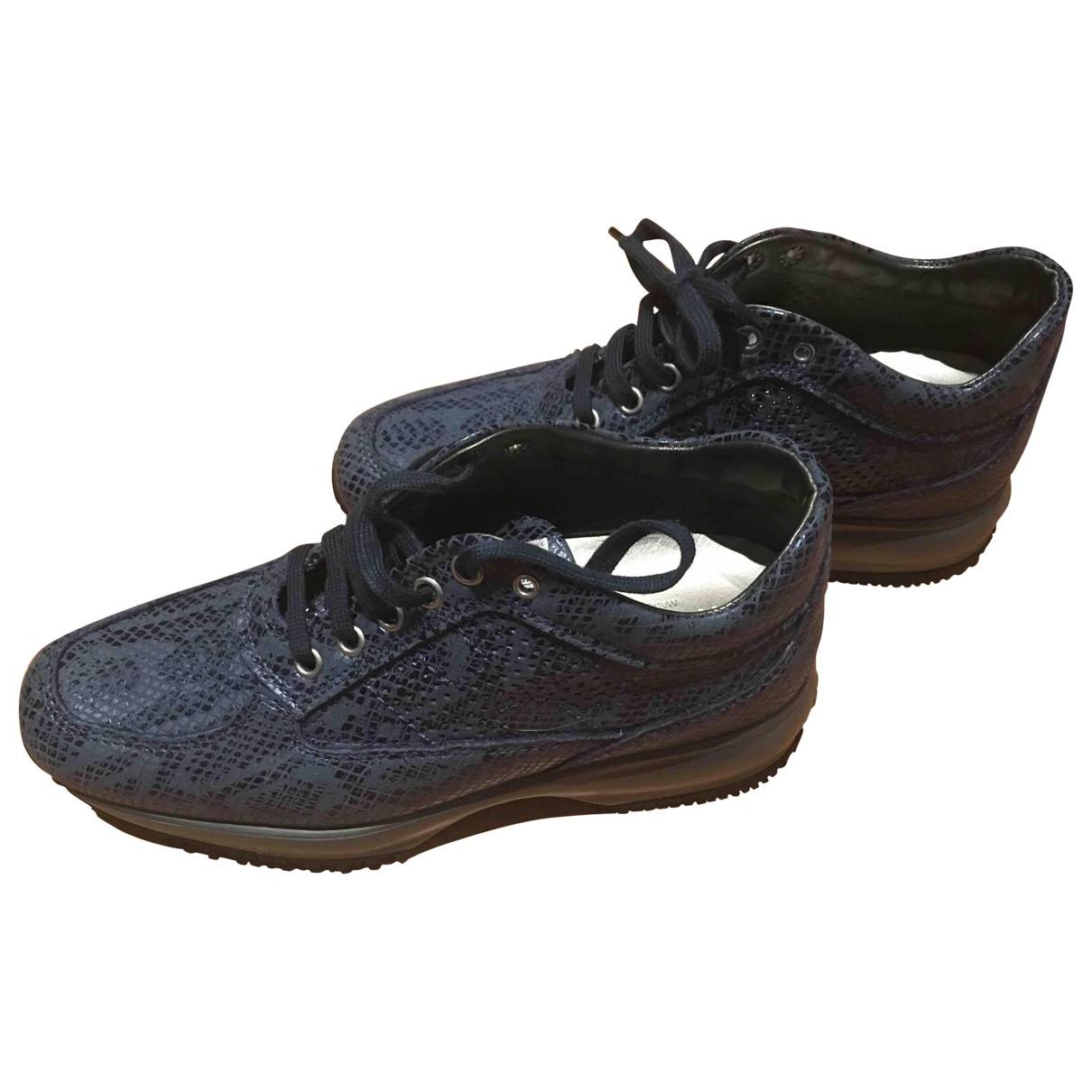 Hogan - Baskets   pour femme en cuir - bleu