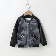 Toddler Boys Letter Embroidery Contrast PU Sleeve Camo Bomber Jacket