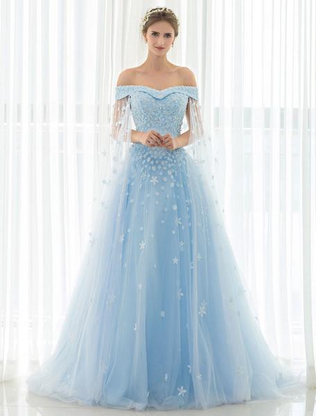 Milanoo Blue Wedding Dress Lace Flower Applique Off-the-shoulder Tulle Cape Chaple Train A-line Bridal Gown