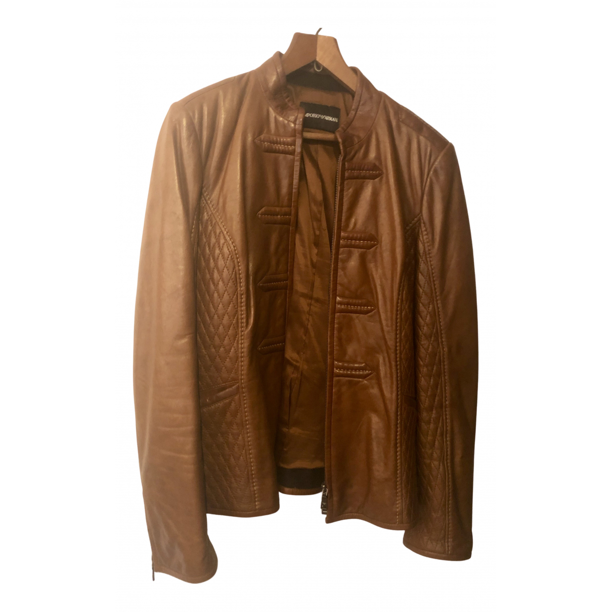 Emporio Armani \N Camel Leather coat for Women 46 IT