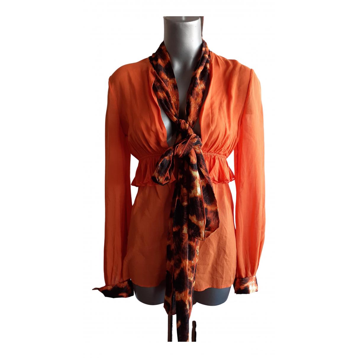Just Cavalli N Orange Silk  top for Women 40 IT