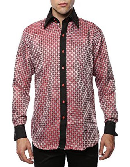 Men's Black Floral Collar Dress Shirt Flashy Stage 2Toned Woven Casual