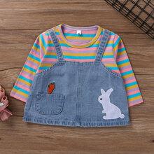 Toddler Girls Cartoon & Stripe 2 In 1 Tee