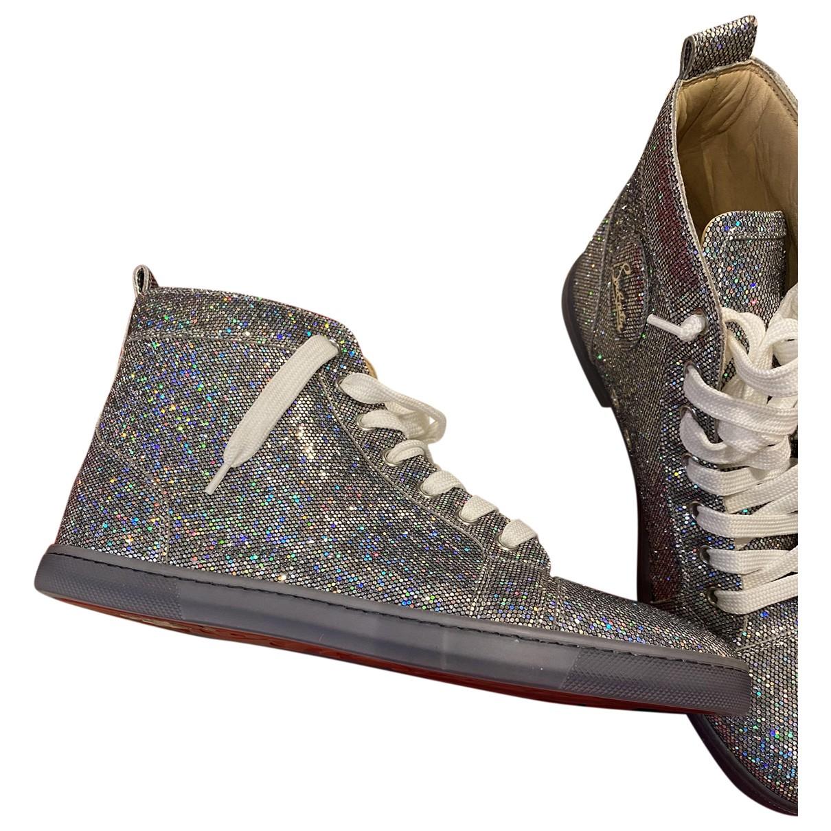 Christian Louboutin Louis Sneakers in  Silber Mit Pailletten