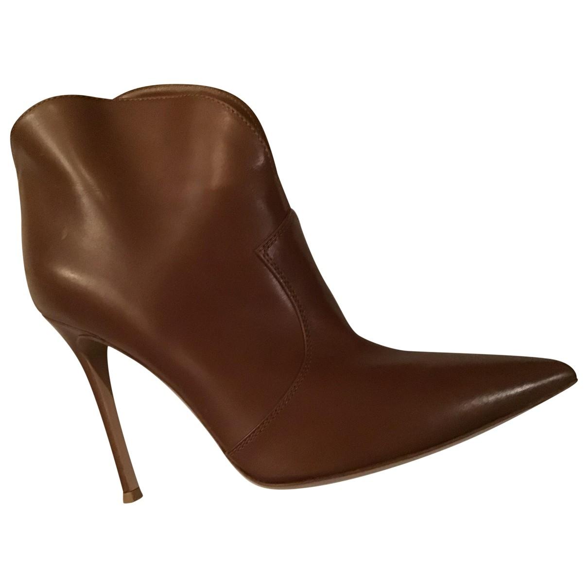 Gianvito Rossi - Boots   pour femme en cuir - marron