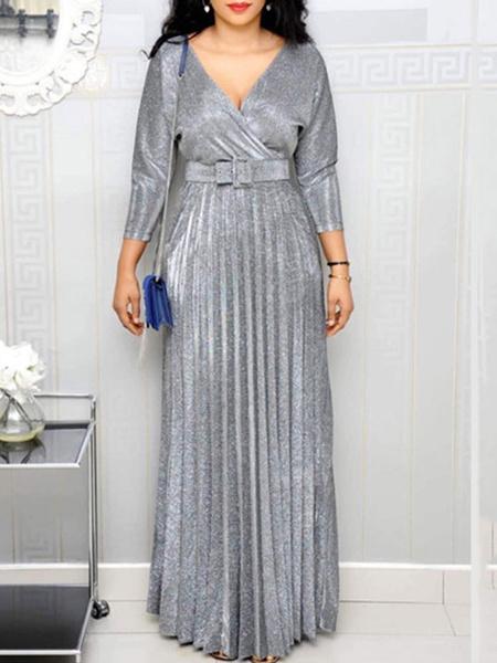 Milanoo Maxi Dress 3/4 Length Sleeves Pink V Neck Pockets Maxi Polyester Floor Length Dress