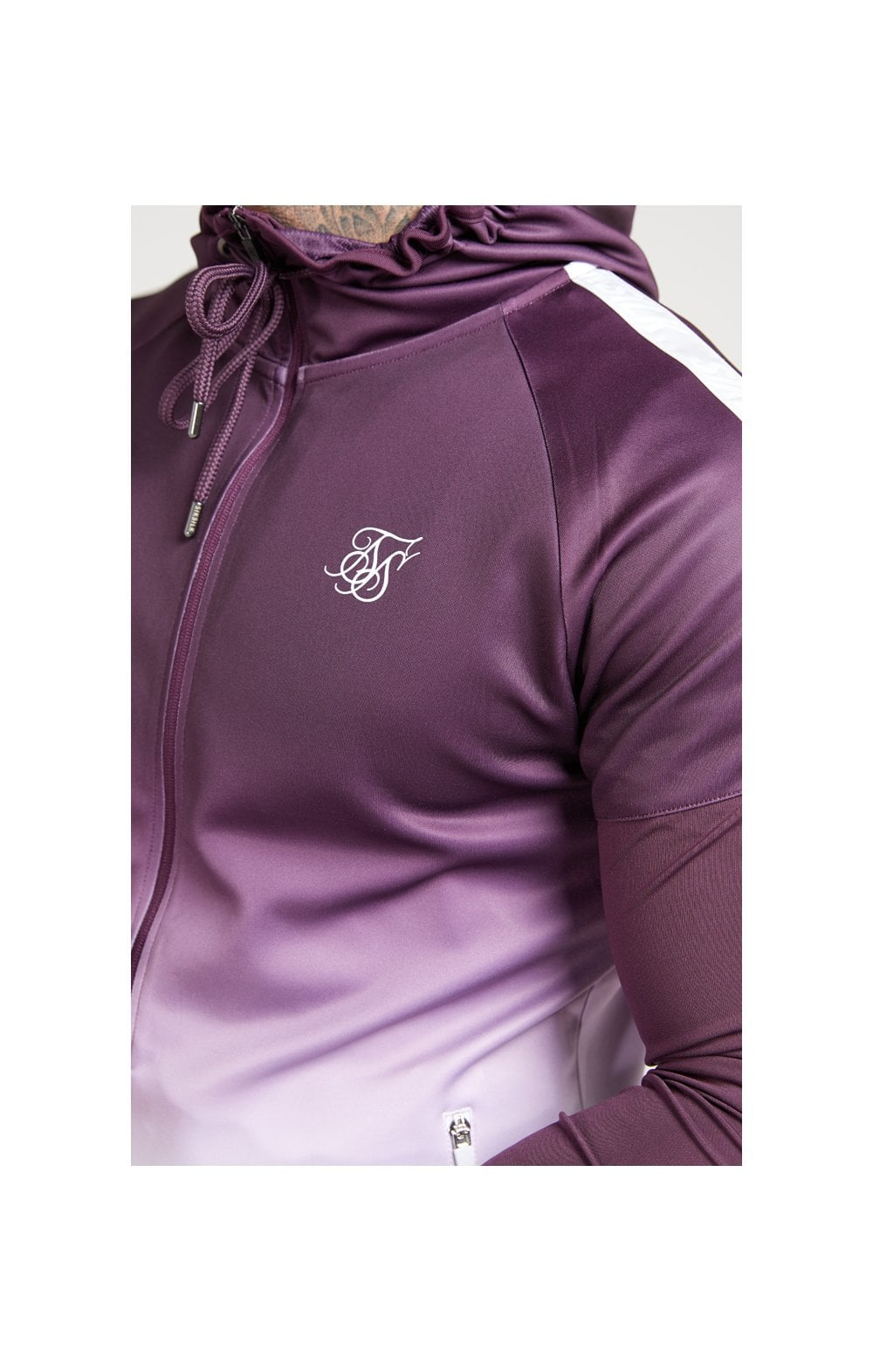 SikSilk SikSilk Athlete Hybrid Zip Through Hoodie  Rich Burgundy Fade