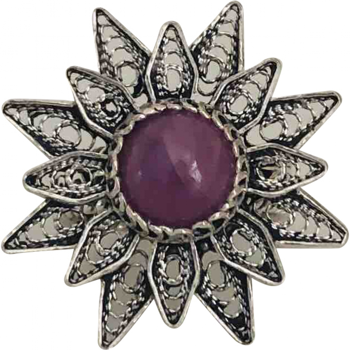 Non Signé / Unsigned Motifs Floraux Pink Silver ring for Women \N