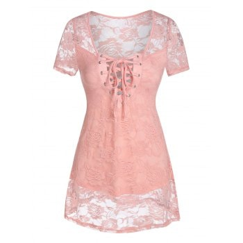 Curved Hem Lace-up Flower Lace Top