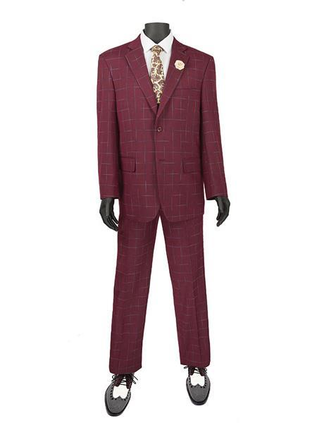 Mens Plaid ~ Window Suit 2 Button Suit Burgundy