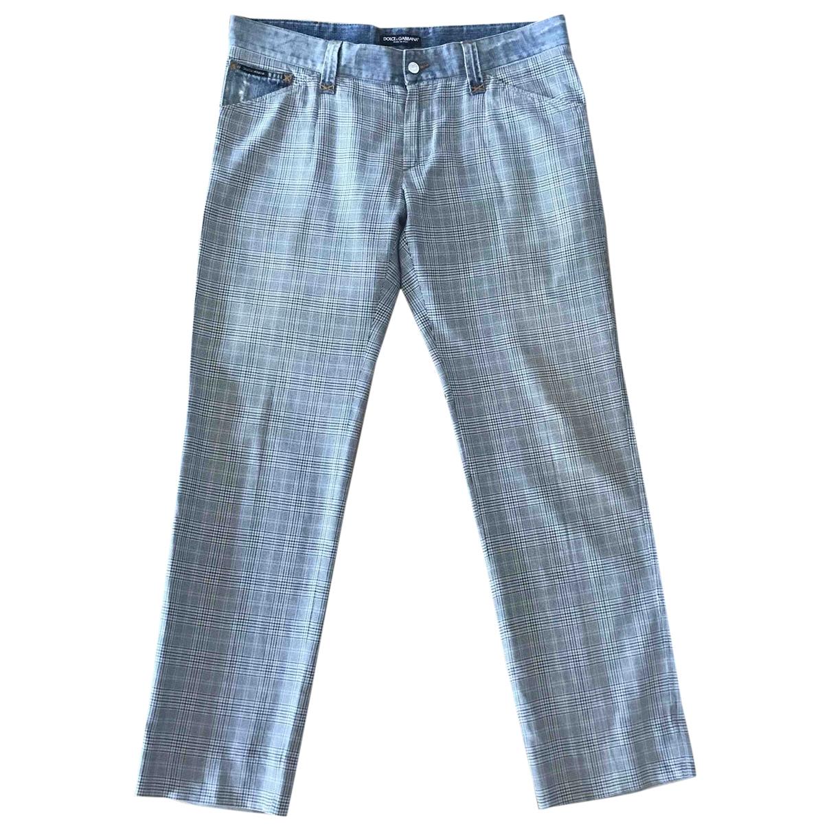 Dolce & Gabbana \N Blue Cotton Trousers for Men 50 IT