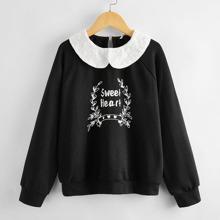 Maedchen Sweatshirt mit Peter Pan Kragen und Raglanaermeln