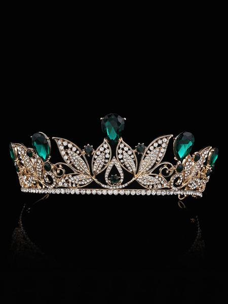 Milanoo Wedding Tiara Princess Crown Bridal Headpieces Rhinestones Royal Blue Hair Accessories