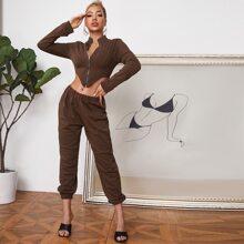 Asymmetrical Hem Zip Up Sweatshirt and Sweatpants Set