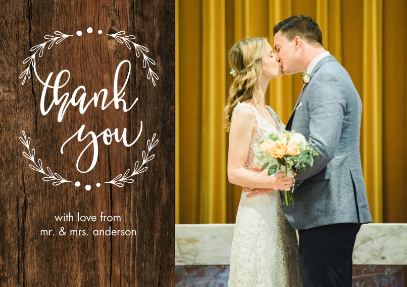 Wedding Thank You Flat Matte Photo Paper Cards with Envelopes, 5x7, Card & Stationery -Thank You Woodgrain Branches
