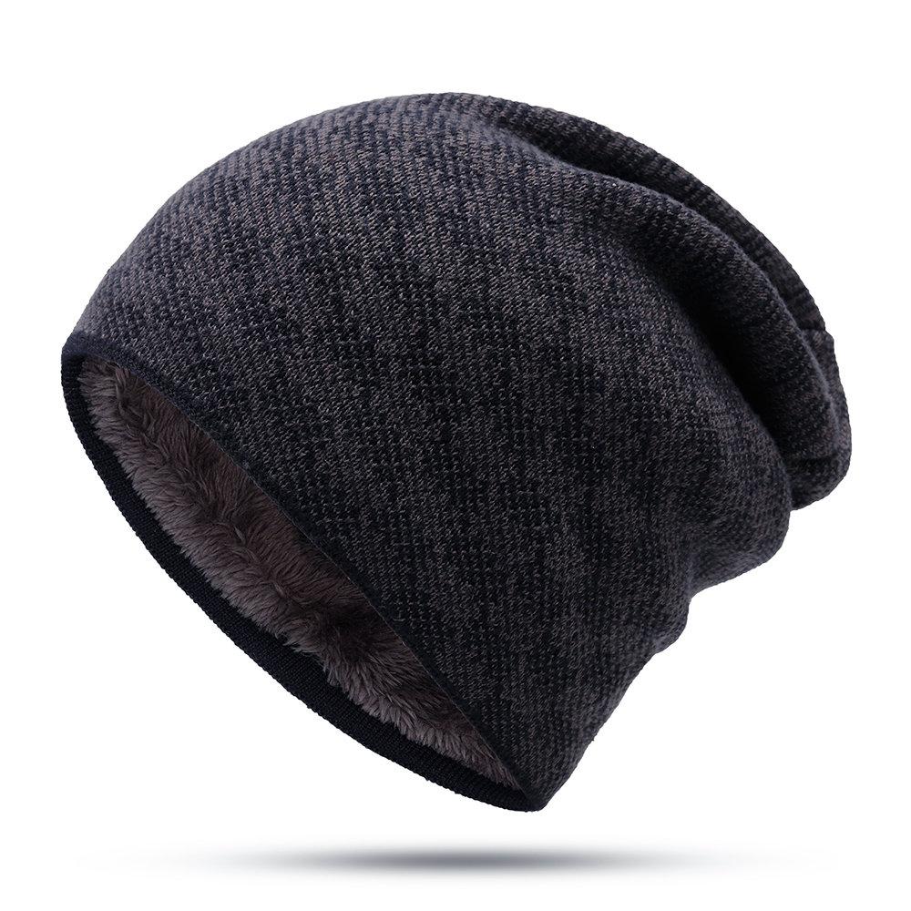 Men Winter Warm Stripe Vogue Wool Plus Velvet Knit Hat Outdoor Casual Cycling Ski Home Beanie