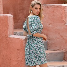 D&M Tie Back Puff Sleeve Floral Dress