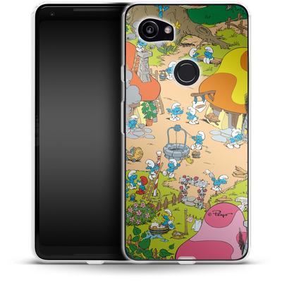 Google Pixel 2 XL Silikon Handyhuelle - Smurf Village von The Smurfs