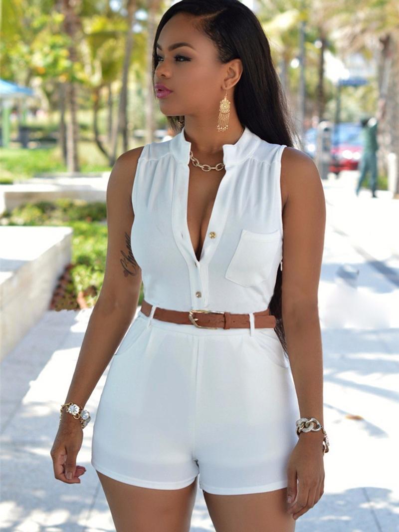 Ericdress Plain Shorts Pocket Slim Mid-Waist Women's Romper