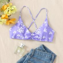 Floral Print Ruched Bikini Top