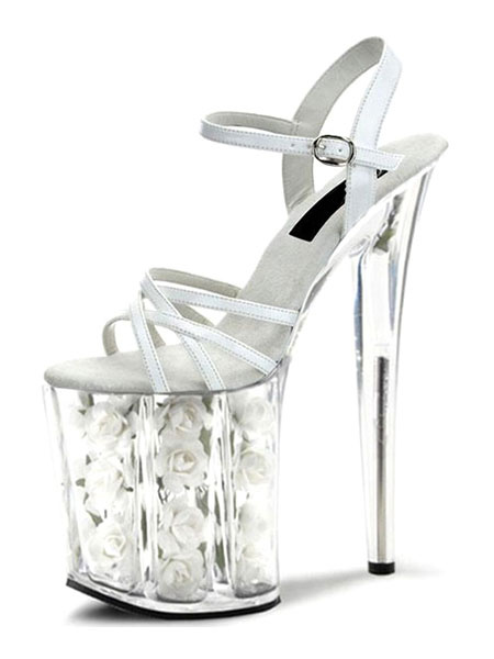 Milanoo High Heel Sandals White Sexy Shoes Transparent Platform Open Toe Stiletto Heel Sandal Shoes For Women