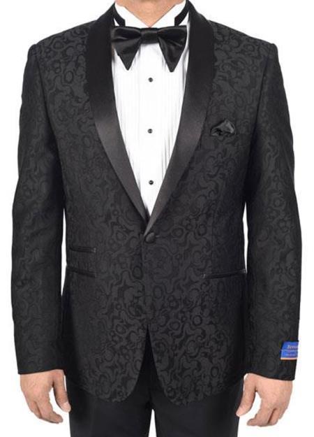 Mens 150s Viscose Blend 1Button Black Tuxedo SatinShawl Dinner Jacket