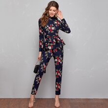 Mock Neck Belted Peplum Floral Top & Pants Set