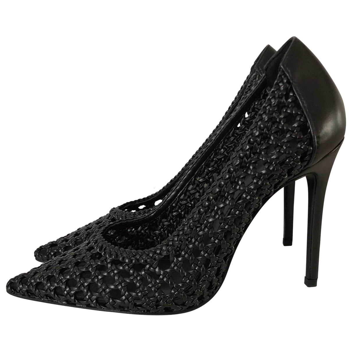 Zara \N Black Leather Heels for Women 37 EU