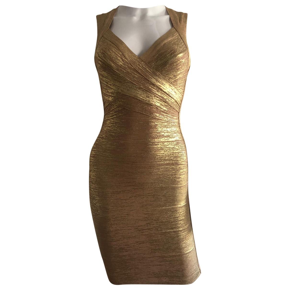 Herve Leger \N Kleid in  Gold Baumwolle - Elasthan