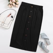 Plus Button Front Rib-knit Longline Skirt