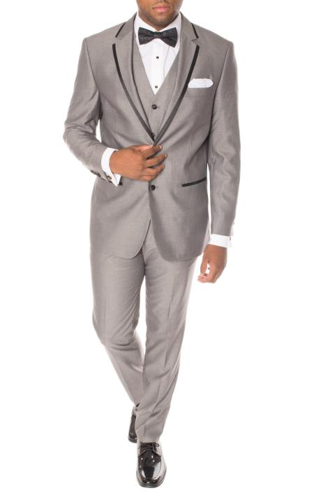 Men's Grey Black Notch Lapel 3 Piece Slim Fit Polyester Vested Tuxedo