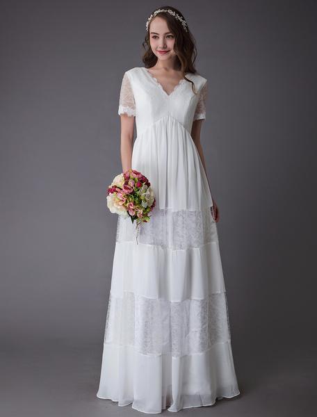 Milanoo Boho Wedding Dresses Lace Chiffon Patchwork Ivory Short Sleeve Gypsy Maxi Beach Bridal Gowns