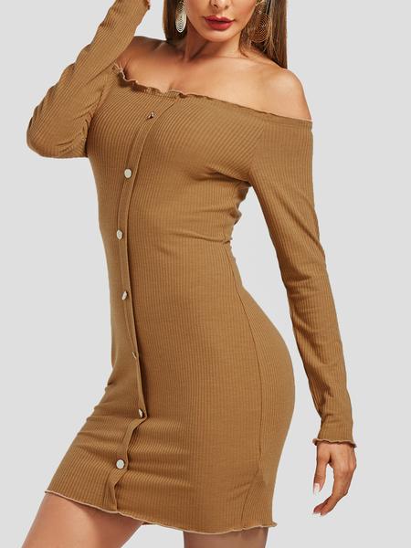 Yoins Camel Single Breasted Design Off Shoulder Dress