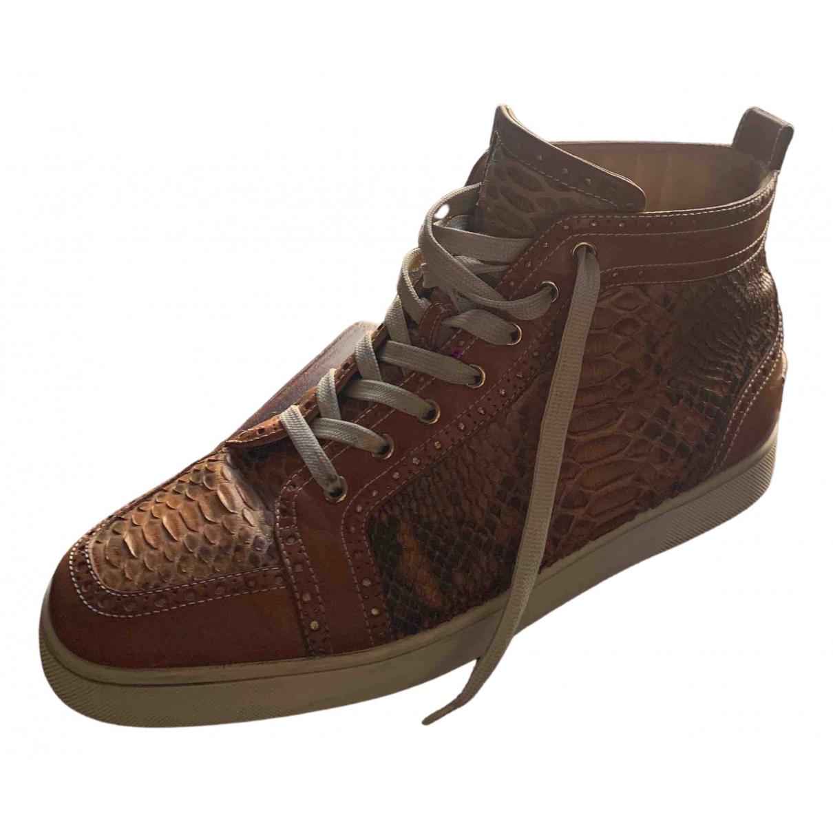 Christian Louboutin - Bottes.Boots   pour homme en python - beige