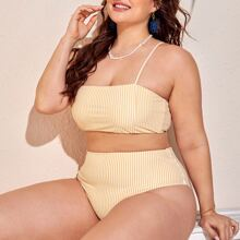 Plus Striped High Waisted Bikini Swimsuit