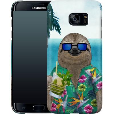 Samsung Galaxy S7 Edge Smartphone Huelle - Summer Sloth Drinking Mojito von Barruf