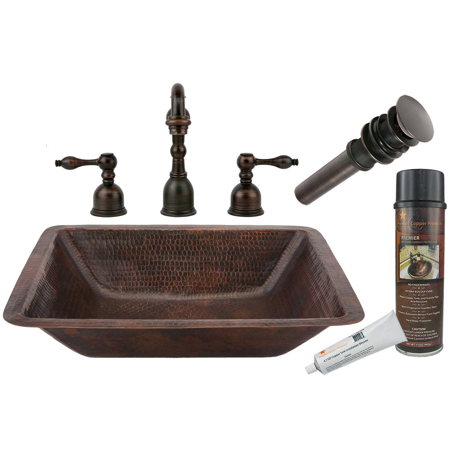 Rectangle Under Counter Hammered Copper Bathroom Sink, Faucet and Accessories Package, Oil Rubbed Bronze