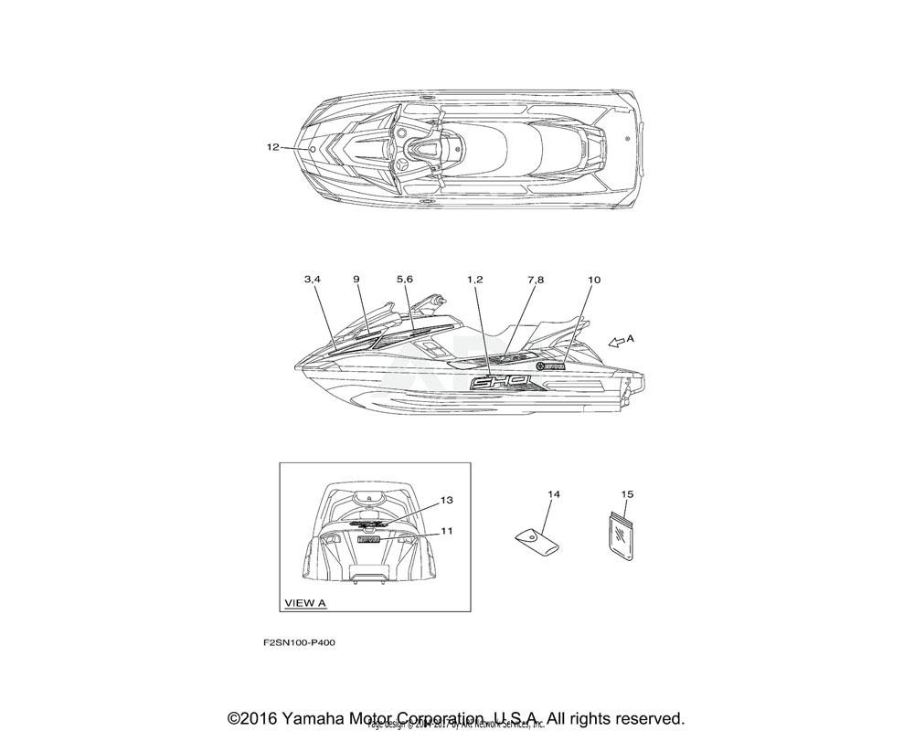 Yamaha OEM F2S-U417F-B0-00 GRAPHIC 5 (LH)