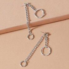 1pair Chain Design Earring Jackets