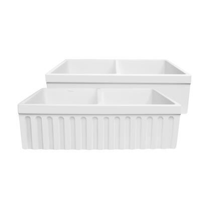 WHQDB332-M-WHITE Farmhaus Quatro Alcove Reversible Matte Double Bowl  Fireclay Kitchen Sink with Fluted  2